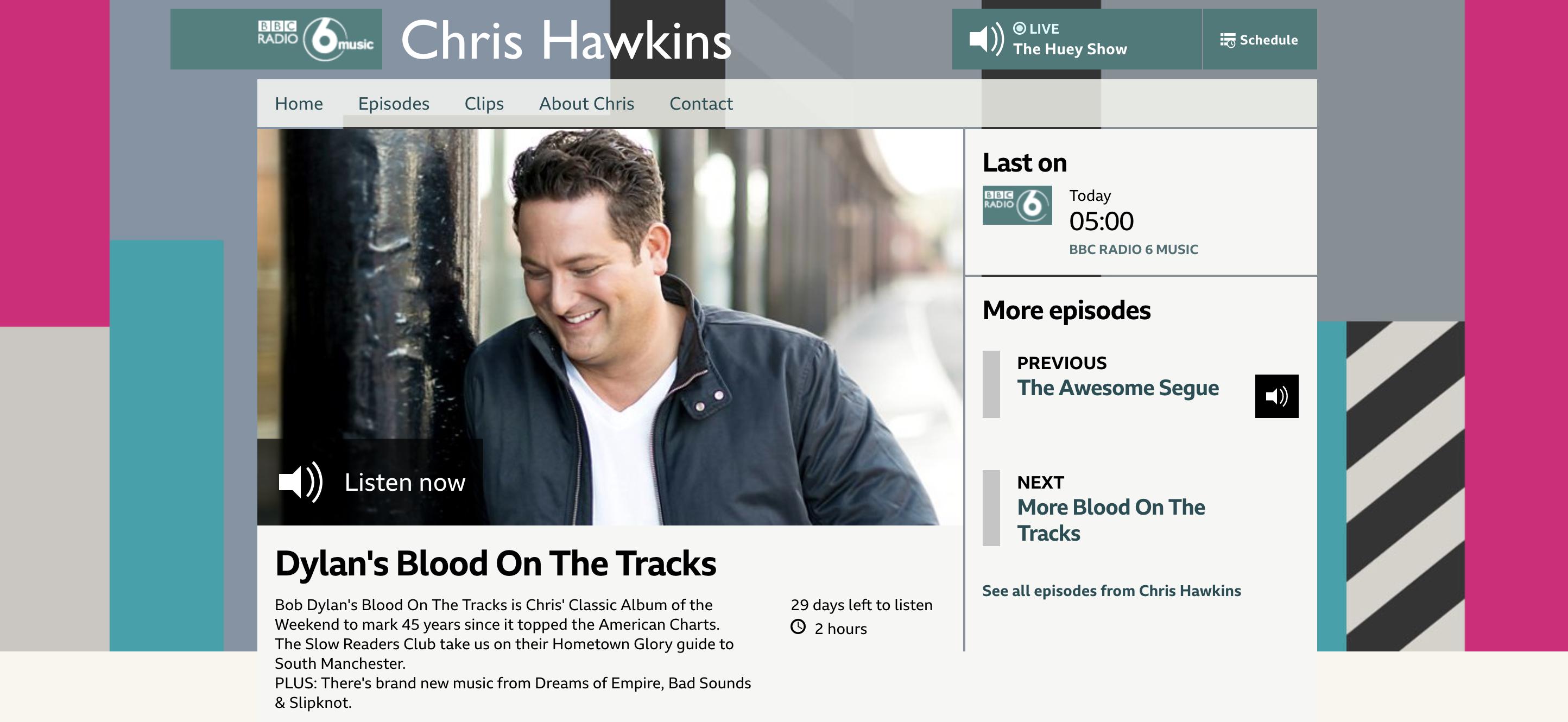BBC Radio 6 Music DJ Chris Hawkins